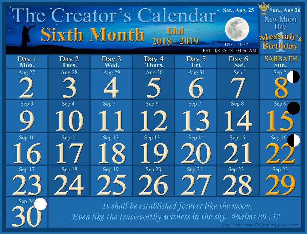 calendar luna august 2019