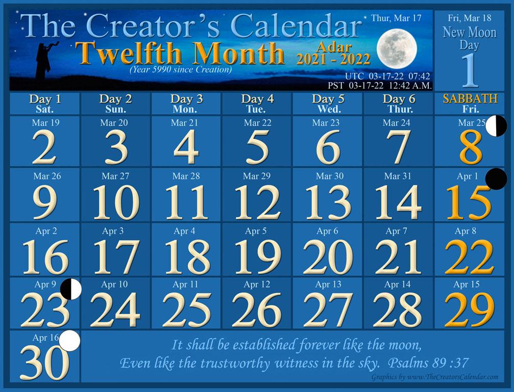 Torah Portion Calendar 2022.Spring 2021 2022 The Creators Calendar